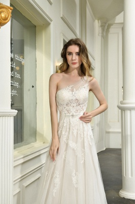 One Shoulder Tulle Sexy A-Line Lace Wedding Dress_5