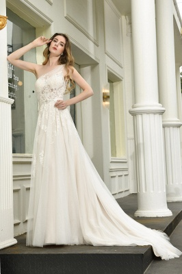 One Shoulder Tulle Sexy A-Line Lace Wedding Dress_9