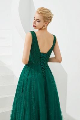 Gorgeous Straps V-neck A-line Long Prom Dresses | Jade Floor Length Evening Dresses_9