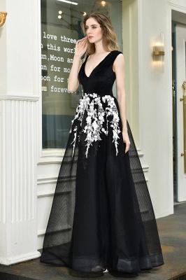 Black Straps Deep V neck A Line Prom Dresses | Applique Lace Corset Back Evening Dresses_10