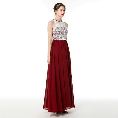 Jewel Sleeveless Long Chiffon Lace Prom Dresses | Floor Length Evening Dresses_2
