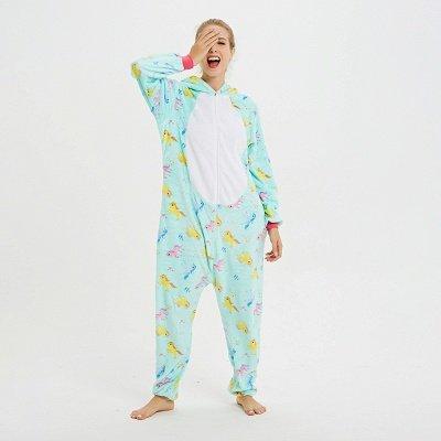 Cute Animal Pyjamas for Women Triceratops Onesie, Green_7