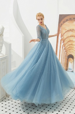 Gorgeous Half Sleeves V-neck A-line Floor Length Prom Dresses | Long Tulle Evening Dresses_4