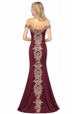 Simple Off the Shoulder Appliques Fitted Floor Length Evening Gown_42