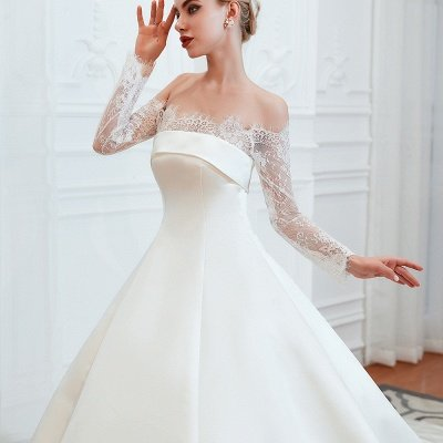 Off the Shoulder Long Sleeves Lace Up Floor Length A-line Lace Wedding Dresses_13