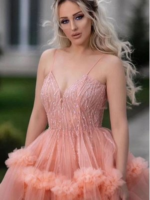 Sleeveless Tulle Ruffles Spaghetti Straps Sexy Coral Prom Dresses | Gorgeous Long Evening Dresses_3