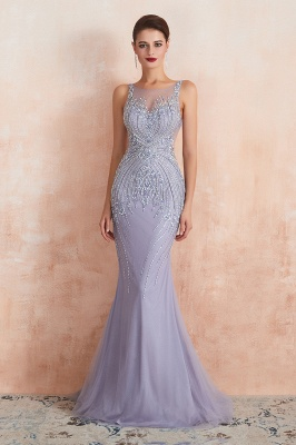 Sleeveless Bateau Beaded Sexy Long Mermaid Prom Dresses | Elegant Lilac Evening Dresses