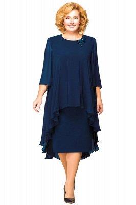 Elegant Chiffon Jewel 3/4 Sleeves Tea Length Mother of Bride Dress_1