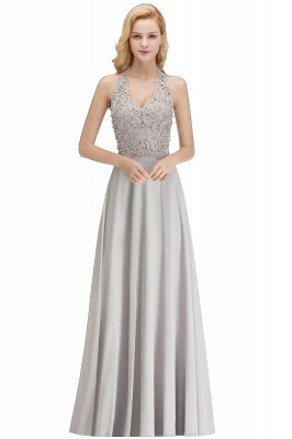 Elegant Halter A-line Appliques Chiffon Long Bridesmaid Dresses | Simple Wedding Guest Dresses_5