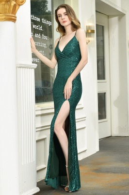 Black Spaghetti Strap V Neck Sequined Front Slit Floor Length Sheath Prom Dresses | Backless Evening Gown_14