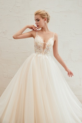 Gorgeous Spaghetti Straps V-neck Floor Length A-line Lace Tulle Wedding Dresses_12
