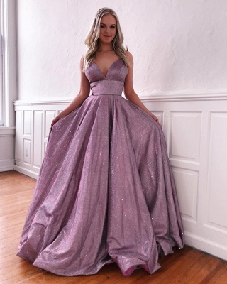 Spaghetti Straps V-neck A-line Metallic Long Prom Dresses | Trendy Evening Dresses_2