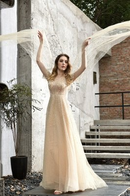 Georgeous Bateau Beading Crystal Prom Dresses | Floor Length A Line Evening Gown_13