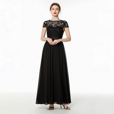Jewel Short Sleeves Belted Floor Length Lace Chiffon Prom Dresses_1