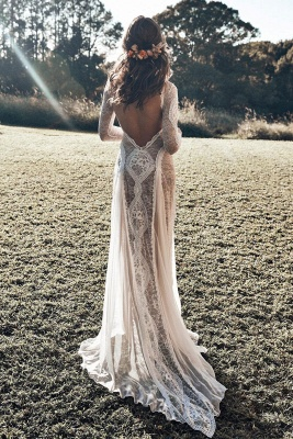 Gorgeous Jewel Long Sleeves Floor Length Open Back Sheath Lace Wedding Dresses | Destination Bridal Dresses_4