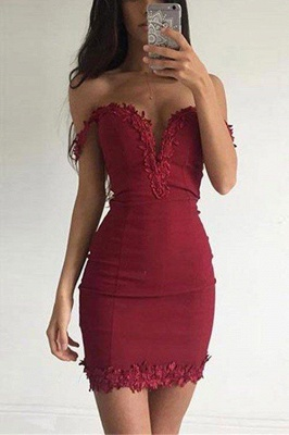 Sexy Burgundy Sheath Homecoming Dresses Off-the-shoulder Lace Appliques Tight Cocktail Dress_2