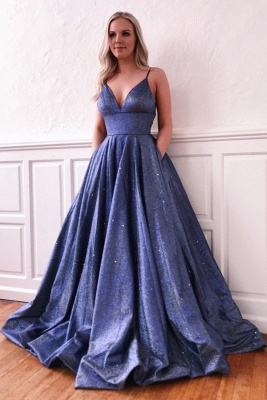 Spaghetti Straps V-neck A-line Metallic Long Prom Dresses | Trendy Evening Dresses