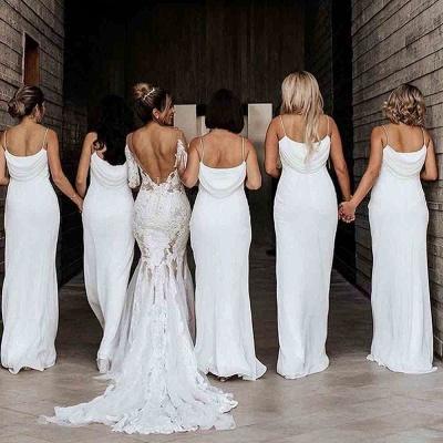 Floor Length Spaghetti Straps Elegant White Bridesmaid Dresses | Gorgeous Wedding Guest Dresses_5