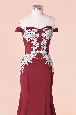 Off the Shoulder Appliques Long Cheap Bridesmaid Dresses | Burgundy Maid of Honor Dresses_5