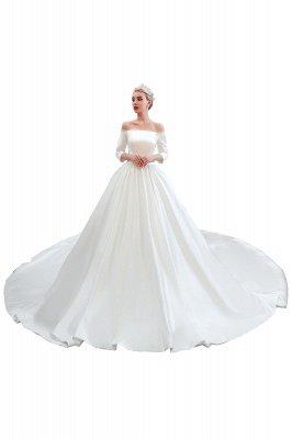 Gorgeous Off the Shoulder Half Sleeves Floor Length A-line Satin Wedding Dresses_12