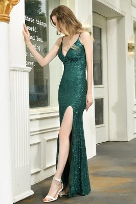 Black Spaghetti Strap V Neck Sequined Front Slit Floor Length Sheath Prom Dresses | Backless Evening Gown_10
