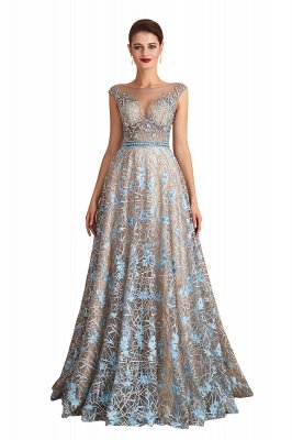 Bateau Cap Sleeves Belted Sexy Long Lace Prom Dresses | Gorgeous Lace Evening Dresses_1
