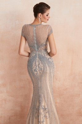 Cap Sleeves Keyhole Jewel Gorgeous Beaded Long Prom Dresses | Elegant Long Evening Dresses_8