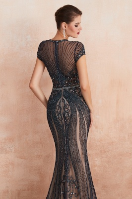 Cap Sleeves Keyhole Jewel Gorgeous Beaded Long Prom Dresses | Elegant Long Evening Dresses_19