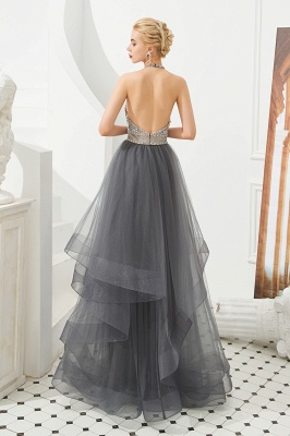 Stylish Floor Length Halter Beaded Tiered Blackless Tulle Prom Dresses_5