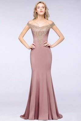 Simple Off the Shoulder Appliques Fitted Floor Length Evening Gown_18