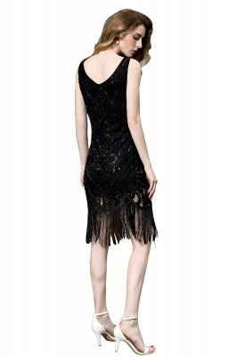 Black Straps V Neck Applique Lace Sequined Sheath Homecoming Dresses_12
