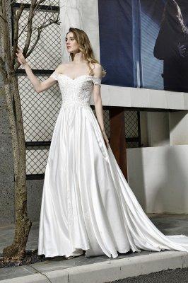 Elegant Appliques Off the Shoulder Sweetheart Lace Wedding Dresses_8