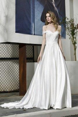 Elegant Appliques Off the Shoulder Sweetheart Lace Wedding Dresses_7
