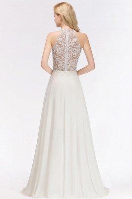 Halter Full Back Applique Beaded Pearls Chiffon A Line Prom Dresses_8