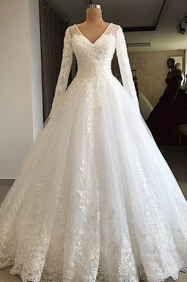 Luxury V Neck Long Sleeve A-Line Applique Wedding Dresses | Lace Beading Ruffles Puffy Bridal Gown_1