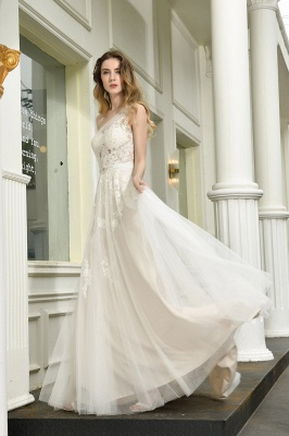 One Shoulder Tulle Sexy A-Line Lace Wedding Dress_6