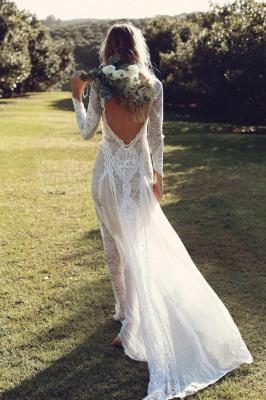 Gorgeous Jewel Long Sleeves Floor Length Open Back Sheath Lace Wedding Dresses | Destination Bridal Dresses_2