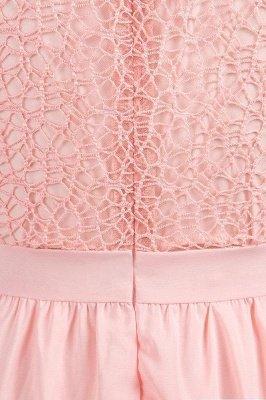 Cap Sleeves Floor Length Jewel Lace Chiffon Bridesmaid Dress | Cheap Prom Dresses_9