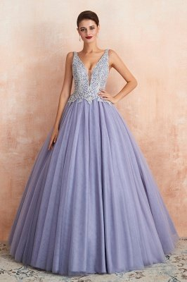 Straps V-neck Sexy Applique Long Prom Dresses | Glamorous Puffy Evening Dresses_7