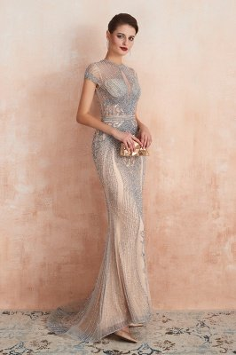 Cap Sleeves Keyhole Jewel Gorgeous Beaded Long Prom Dresses | Elegant Long Evening Dresses_9