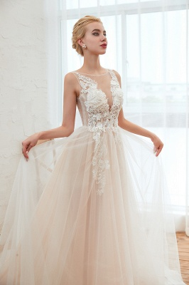 Round Neckline Sleeveless A-line Lace Up Sweep Train Lace Appliques Wedding Dresses_18