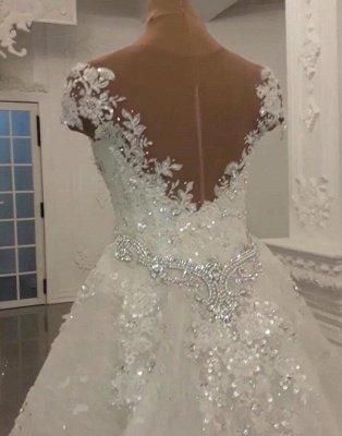 Luxury Sheer Jewel Cap Sleeve Applique Beading Mermaid Wedding Dresses With Detachable Skirt_2