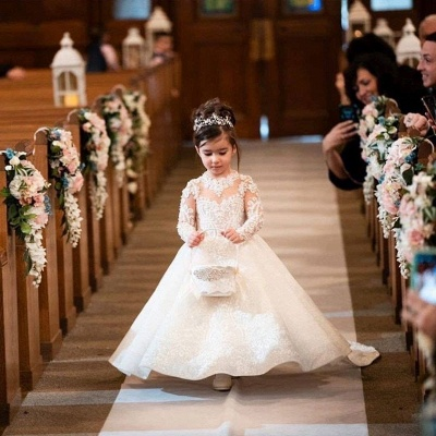 Princess A-line Sweep Train Lace Flower Girl Dresses with Long Sleeves_3