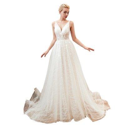 Gorgeous Spaghetti Straps Sweep Train V-neck Lace-Up Lace Wedding Dresses_19