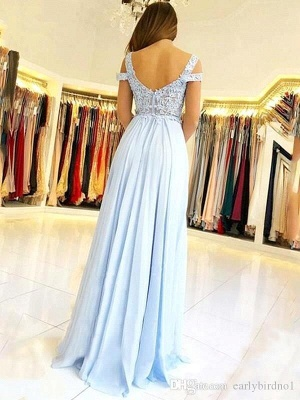 Elegant Cold Sleeves Appliques Chiffon Sky Blue Prom Dresses with Side Slit_3