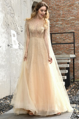 Georgeous Bateau Beading Crystal Prom Dresses | Floor Length A Line Evening Gown_16