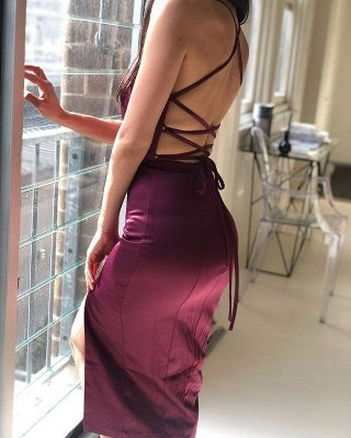 Spaghetti Straps V-neck Fitted Bridesmaid Dresses   Sexy Long Maid of Honor Dresses_4
