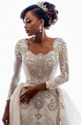 Luxury Lace Appliques Mermaid Wedding Dresses  | Beads Long Sleeve Gorgeous Bridal Gowns_2