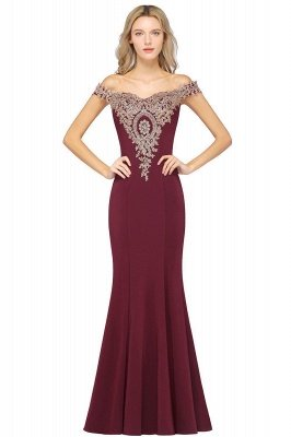 Simple Off the Shoulder Appliques Fitted Floor Length Evening Gown_12