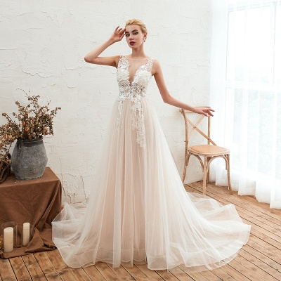 Round Neckline Sleeveless A-line Lace Up Sweep Train Lace Appliques Wedding Dresses_4